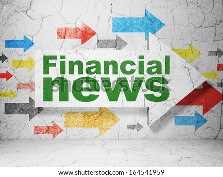 News concept:  arrow with Financial News on grunge textured concrete wall background, 3d render