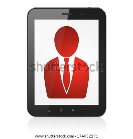 News concept: black tablet pc computer with Business Man icon on display. Modern portable touch pad on White background, 3d render - stock photo