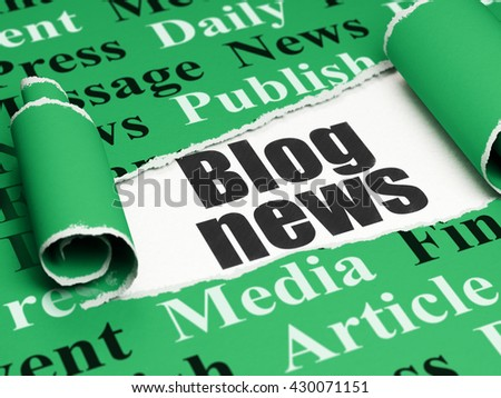 News concept: black text Blog News under the curled piece of Green torn paper with  Tag Cloud, 3D rendering