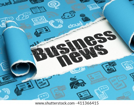News concept: black text Business News under the curled piece of Blue torn paper with  Hand Drawn News Icons, 3D rendering - stock photo
