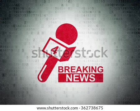 News concept: Breaking News And Microphone on Digital Paper background - stock photo
