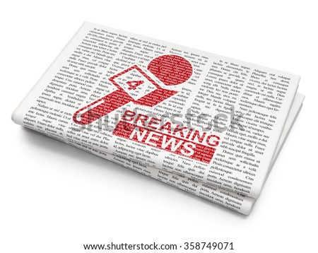 News concept: Breaking News And Microphone on Newspaper background - stock photo