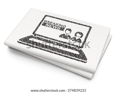 News concept: Breaking News On Laptop on Blank Newspaper background - stock photo