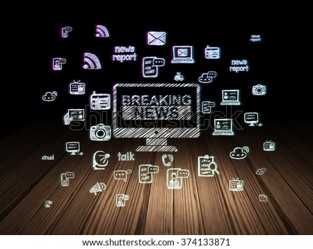 News concept: Breaking News On Screen in grunge dark room - stock photo