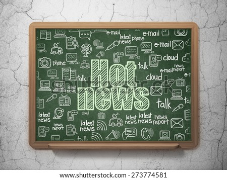 News concept: Chalk Green text Hot News on School Board background with  Hand Drawn News Icons, 3d render - stock photo