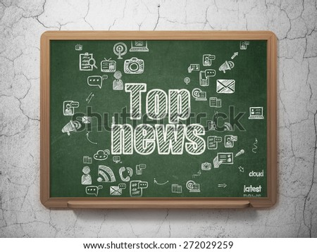News concept: Chalk White text Top News on School Board background with Scheme Of Hand Drawn News Icons, 3d render - stock photo