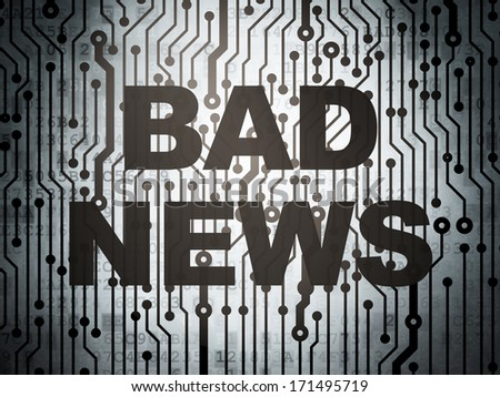News concept: circuit board with  word Bad News, 3d render - stock photo