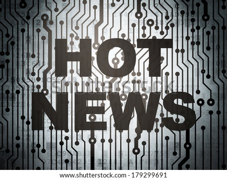 News concept: circuit board with  word Hot News, 3d render - stock photo