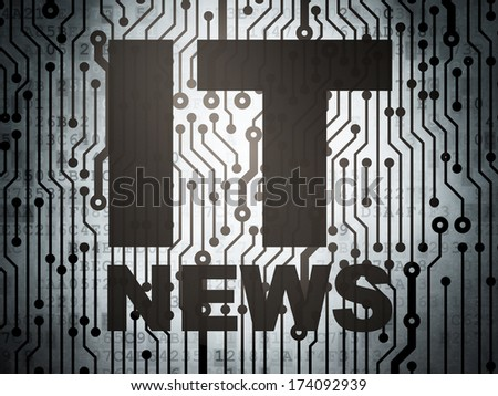 News concept: circuit board with  word IT News, 3d render - stock photo