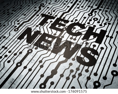 News concept: circuit board with  word Tech News, 3d render - stock photo