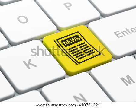 News concept: computer keyboard with Newspaper icon on enter button background, selected focus, 3D rendering - stock photo