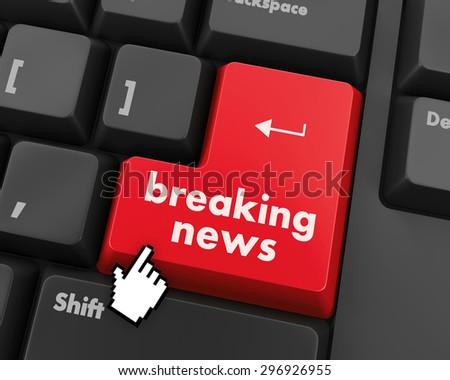 News concept: computer keyboard with word Breaking News on enter button background, 3d render