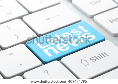 News concept: computer keyboard with word Latest News, selected focus on enter button background, 3D rendering - stock photo