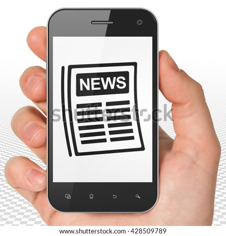 News concept: Hand Holding Smartphone with black Newspaper icon on display, 3D rendering