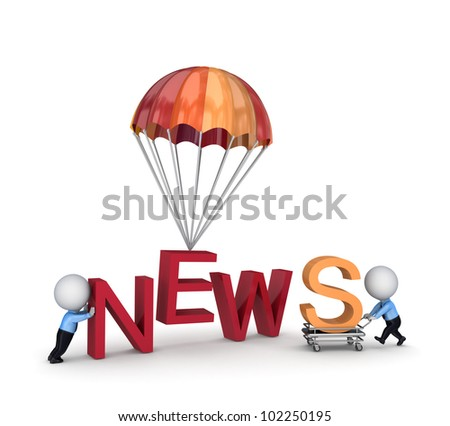 NEWS concept.isolated on white background.3d rendered. - stock photo