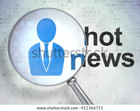 News concept: magnifying optical glass with Business Man icon and Hot News word on digital background, 3D rendering - stock photo