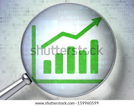 News concept: magnifying optical glass with Growth Graph icon on digital background, 3d render - stock photo