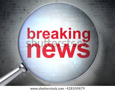 News concept: magnifying optical glass with words Breaking News on digital background, 3D rendering - stock photo