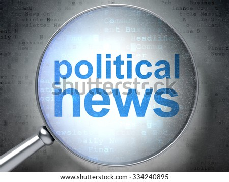 News concept: magnifying optical glass with words Political News on digital background - stock photo