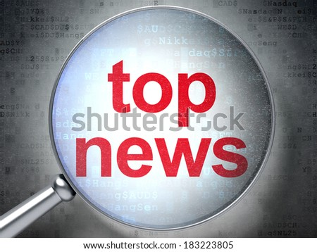 News concept: magnifying optical glass with words Top News on digital background, 3d render - stock photo