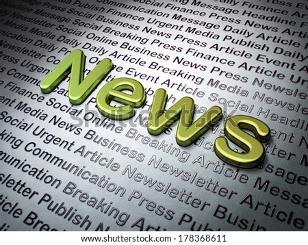 News concept:  News on News background, 3d render - stock photo