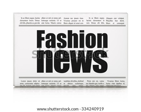 News concept: newspaper headline Fashion News on White background, 3d render - stock photo