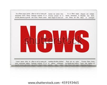 News concept: newspaper headline News on White background, 3D rendering - stock photo