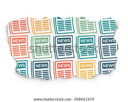 News concept: Newspaper icons on Torn Paper background - stock photo