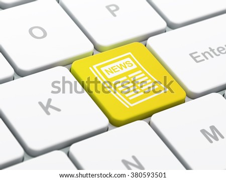 News concept: Newspaper on computer keyboard background - stock photo
