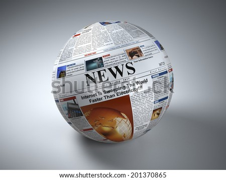 News concept. Newspaper sphere. Three-dimaensional image. 3d - stock photo