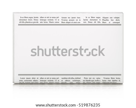 News concept: newspaper with blank headline on White background. Newspaper with empty space for your text, 3D rendering.