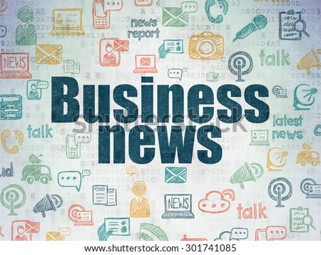News concept: Painted blue text Business News on Digital Paper background with   Hand Drawn News Icons, 3d render - stock photo