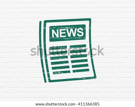 News concept: Painted green Newspaper icon on White Brick wall background