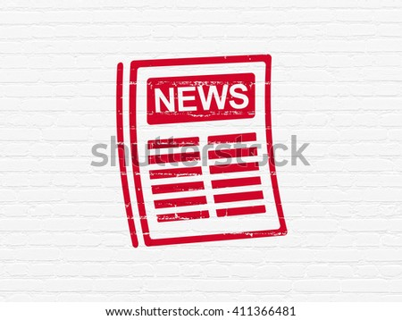 News concept: Painted red Newspaper icon on White Brick wall background - stock photo