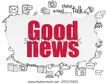 News concept: Painted red text Good News on Torn Paper background with  Hand Drawn News Icons, 3d render - stock photo