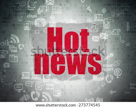 News concept: Painted red text Hot News on Digital Paper background with Scheme Of Hand Drawn News Icons, 3d render - stock photo
