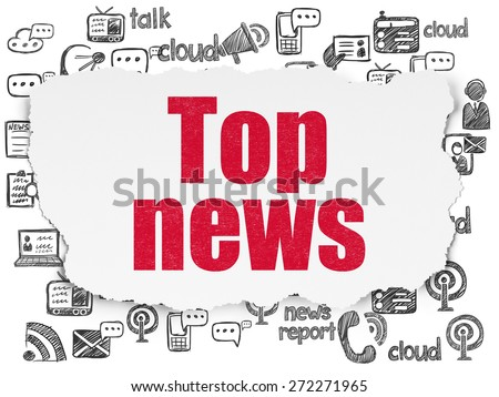 News concept: Painted red text Top News on Torn Paper background with  Hand Drawn News Icons, 3d render - stock photo