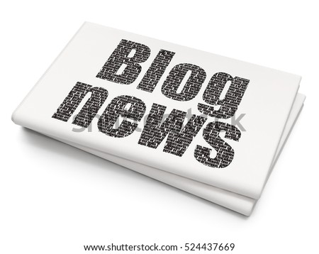News concept: Pixelated black text Blog News on Blank Newspaper background, 3D rendering