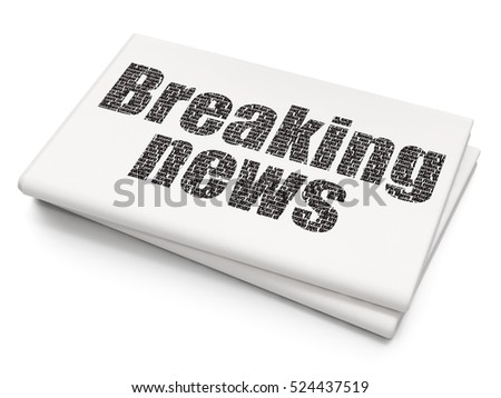 News concept: Pixelated black text Breaking News on Blank Newspaper background, 3D rendering