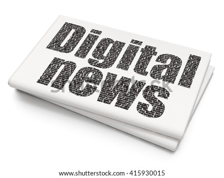 News concept: Pixelated black text Digital News on Blank Newspaper background, 3D rendering - stock photo