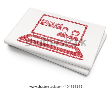 News concept: Pixelated red Breaking News On Laptop icon on Blank Newspaper background, 3D rendering