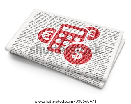 News concept: Pixelated red Calculator icon on Newspaper background - stock photo