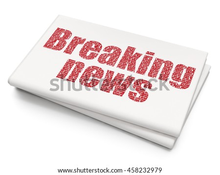 News concept: Pixelated red text Breaking News on Blank Newspaper background, 3D rendering - stock photo