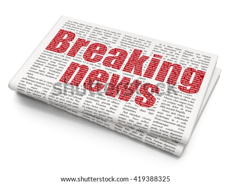 News concept: Pixelated red text Breaking News on Newspaper background, 3D rendering - stock photo