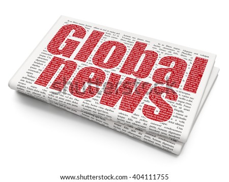 News concept: Pixelated red text Global News on Newspaper background, 3D rendering - stock photo
