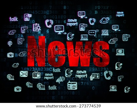 News concept: Pixelated red text News on Digital background with  Hand Drawn News Icons, 3d render - stock photo