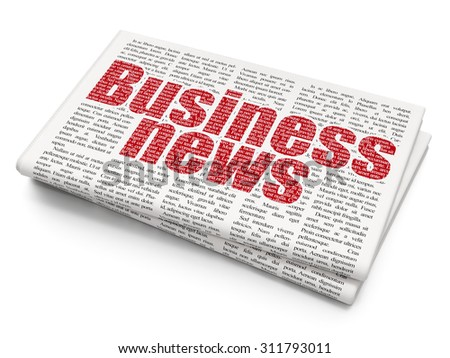 News concept: Pixelated  text Business News on Newspaper background - stock photo