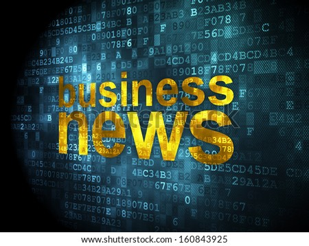 News concept: pixelated words Business News on digital background, 3d render