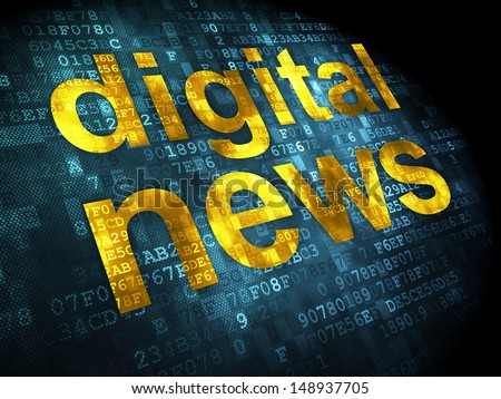 News concept: pixelated words Digital News on digital background, 3d render - stock photo