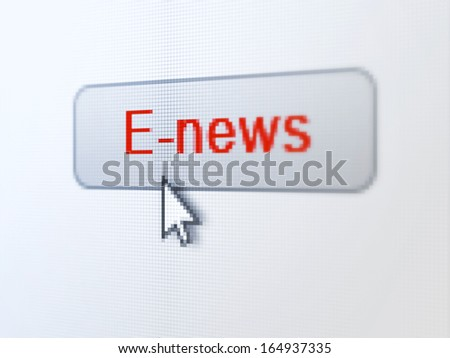 News concept: pixelated words E-news on button with Arrow cursor on digital computer screen background, selected focus 3d render - stock photo